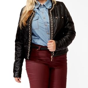 Forever 21 Plus quilted faux leather jacket